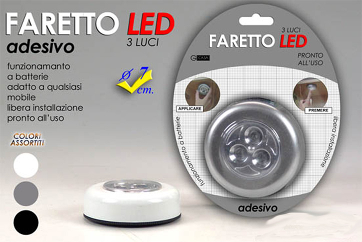 FARETTO LED 3 LUCI DIAMETRO 7 CM